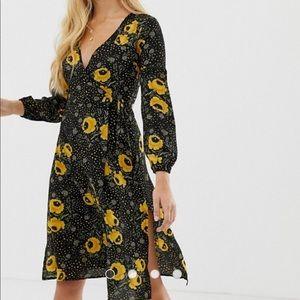 Brave soul front wrap midi dress in black floral